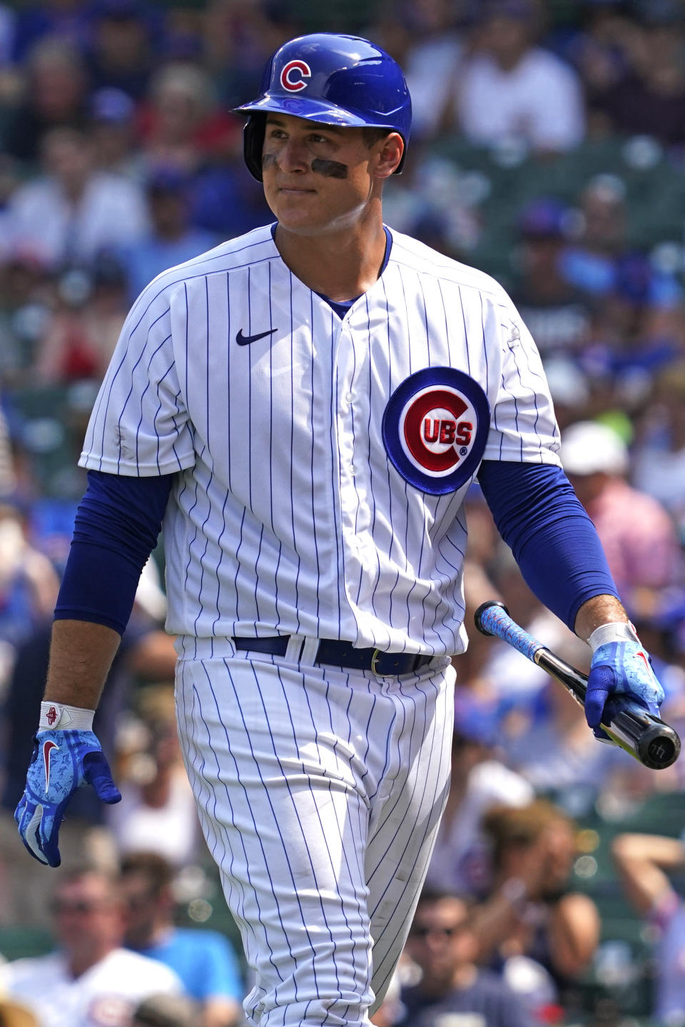 Chicago Cubs' Anthony Rizzo looks to the field after striking out swinging during the sixth inning of a baseball game against the Arizona Diamondbacks in Chicago, Saturday, July 24, 2021. (AP Photo/Nam Y. Huh)