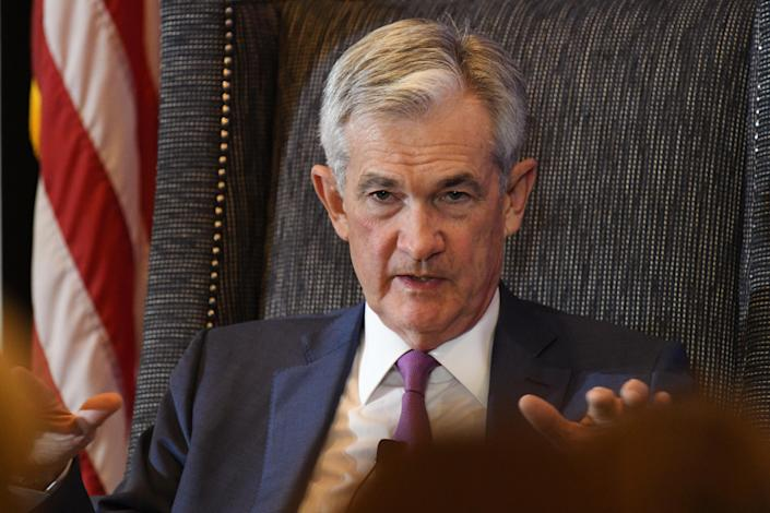 DENVER, CO - OCTOBER 8: Fed Chairman Jerome Powell is giving a luncheon keynote at the National Association of Business Economists in Embassy Suites by Hilton Denver Downtown Convention Center. October 08, 2019. (Photo by Hyoung Chang/MediaNews Group/The Denver Post via Getty Images)