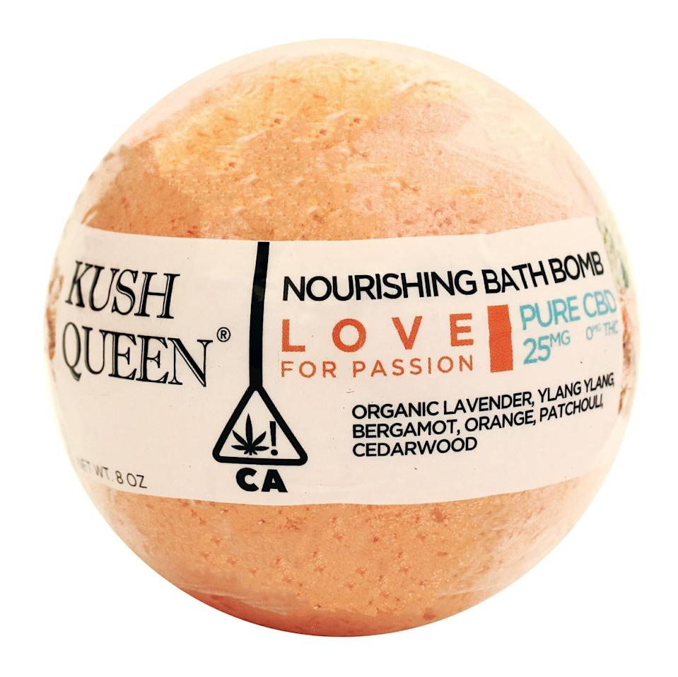 """<h3><strong>Kush Queen</strong> Love CBD Bath Bomb Reject</h3>If you're looking for the added effect of aromatherapy, consider these options from Kush Queen, which are categorized by need. There's one to help you fall asleep, one to wake you up, and even one that will get you in the mood for slippery <a href=""""https://www.refinery29.com/en-us/best-shower-sex-positions"""" rel=""""nofollow noopener"""" target=""""_blank"""" data-ylk=""""slk:shower sex"""" class=""""link rapid-noclick-resp"""">shower sex</a>. Whatever your heart desires, this collection's got it.<br><br><strong>Kush Queen</strong> Love CBD Bath Bomb Reject, $, available at <a href=""""https://go.skimresources.com/?id=30283X879131&url=https%3A%2F%2Fwww.kushqueen.shop%2Fproduct%2Flove-cbd-bath-bomb%2F"""" rel=""""nofollow noopener"""" target=""""_blank"""" data-ylk=""""slk:Kush Queen"""" class=""""link rapid-noclick-resp"""">Kush Queen</a>"""