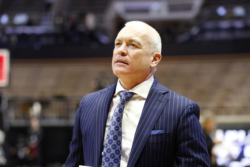 WEST LAFAYETTE, INDIANA - FEBRUARY 11: Head coach Pat Chambers of the Penn State Nittany Lions walks over the court after a win over the Purdue Boilermakers at Mackey Arena on February 11, 2020 in West Lafayette, Indiana. (Photo by Justin Casterline/Getty Images)