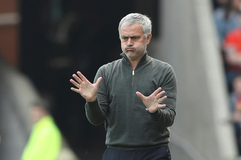 Manchester United's manager Jose Mourinho follows action on the pitch during their English Premier League match against Sunderland, at the Stadium of Light in Sunderland, on April 9, 2017