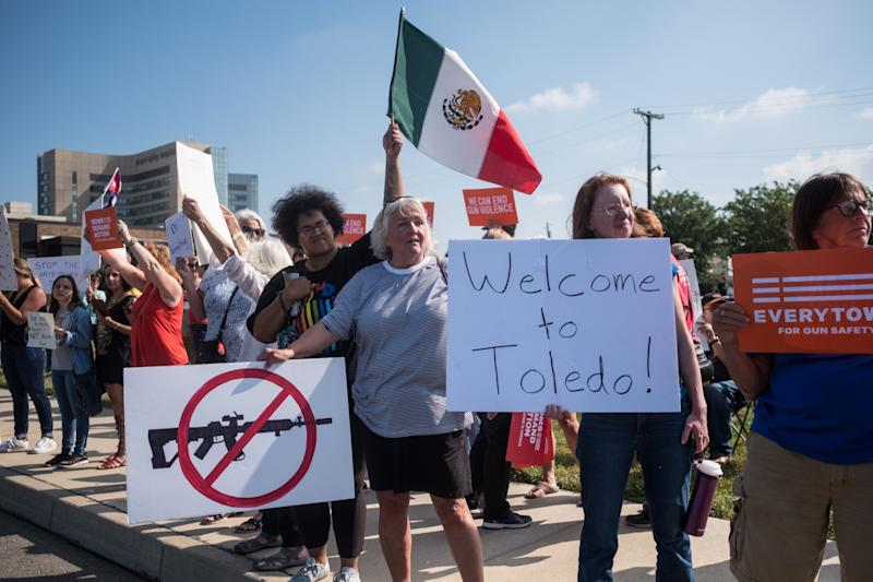 Demonstrators protest the visit of US President Donald Trump to the site of the mass shooting in Dayton, Ohio, on Aug. 7, 2019. (Photo: Megan Jelinger/AFP/Getty Images)