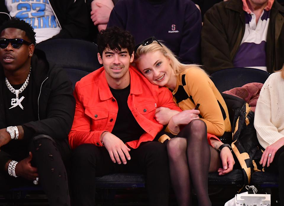 Joe Jonas and Sophie Turner attend the Sacramento Kings v New York Knicks game at Madison Square Garden on March 9, 2019 in New York City. (Credit: James Devaney/Getty Images)