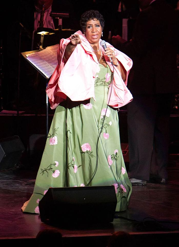 13. Living legend Aretha Franklin -- in a comforter (or is it a shower curtain?) from Bed Bath & Beyond -- performing at the DTE Energy Center in Clarkston, Michigan. (08/25/11)