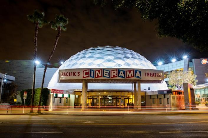 HOLLYWOOD, CA --MARCH 20, 2020 -A quiet and empty Cinerama Dome of the ArcLight Cinemas, on Sunset Boulevard, in Hollywood, CA, March 20, 2020. (Jay L. Clendenin / Los Angeles Times)