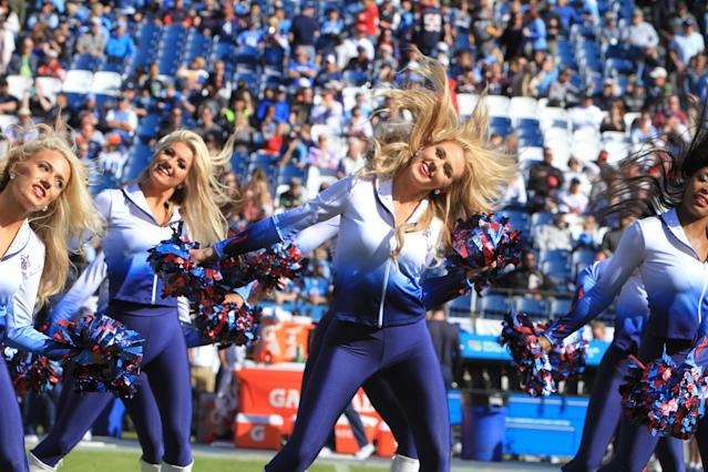 <p>Tennessee Titans cheerleaders entertain the crowd during the Houston Texans game versus the Tennessee Titans on December 3, 2017, at Nissan Stadium in Nashville, TN. (Photo by Matthew Maxey/Icon Sportswire via Getty Images) </p>