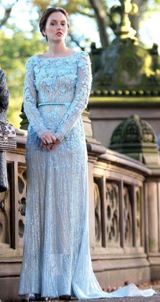 """<p>Blair was the Queen B in <em>Gossip Girl</em> when it came to drama and fashion, so it's no surprise that she went with an unexpected, yet still elegant, <a href=""""http://www.instyle.com/news/gossip-girl-blair-waldorfs-wedding-dress-elie-saab"""" rel=""""nofollow noopener"""" target=""""_blank"""" data-ylk=""""slk:wedding dress by Elie Saab"""" class=""""link rapid-noclick-resp"""">wedding dress by Elie Saab</a>. Chuck and Blair had a beautiful Central Park ceremony in the series finale, and this gorgeous gown was definitely her """"something blue."""" </p>"""