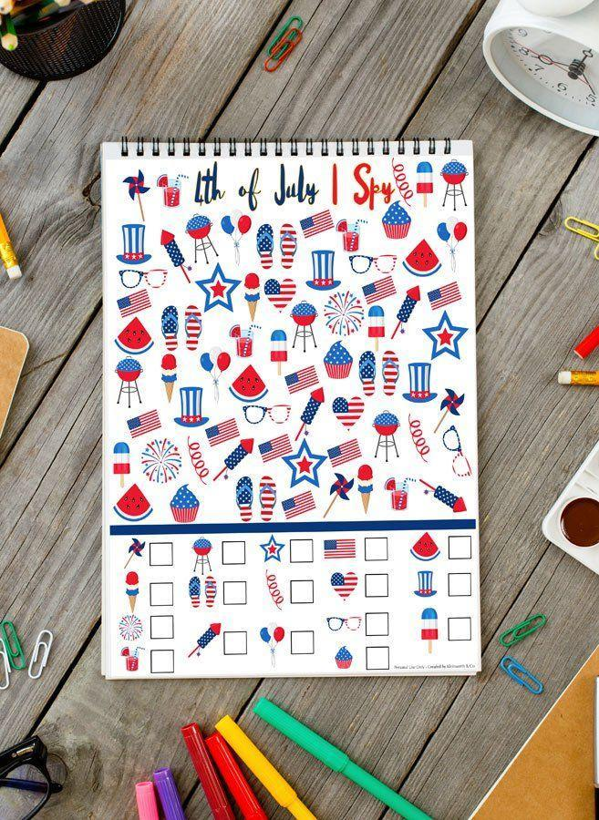 """<p>Leave this fun game on the kids' table to keep the littlest set occupied while their parents enjoy barbecue fare. </p><p><a class=""""link rapid-noclick-resp"""" href=""""https://www.kleinworthco.com/4th-of-july-i-spy-printable/"""" rel=""""nofollow noopener"""" target=""""_blank"""" data-ylk=""""slk:GET THE PRINTABLE"""">GET THE PRINTABLE</a></p>"""