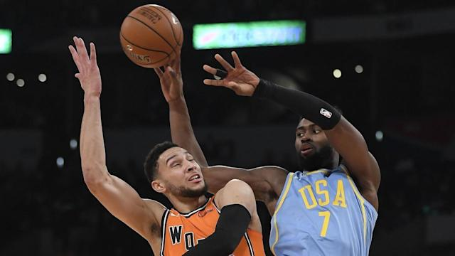 <p>Ben Simmons had more assists than points in the World team's NBA All-Star Rising Stars game.</p>