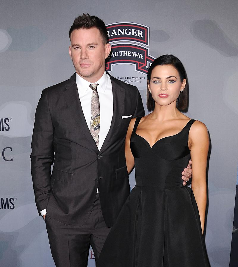 "Channing Tatum and Jenna Dewan Tatum attend the premiere of ""War Dog: A Soldier's Best Friend"" at Directors Guild Of America on November 6, 2017 in Los Angeles, California. (Photo by Jason LaVeris/FilmMagic)"