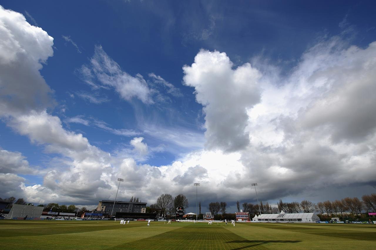 DERBY, ENGLAND - MAY 04:  A view of the County Ground as Derbyshire take on New Zealand during the tour match between Derbyshire and New Zealand at The County Ground on May 4, 2013 in Derby, England.  (Photo by Tony Marshall/Getty Images)