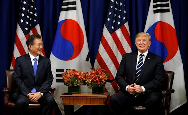 President Trump meets with South Korean President Moon Jae-in during the U.N. General Assembly in New York, Sept. 21, 2017. (Kevin Lamarque/Reuters)