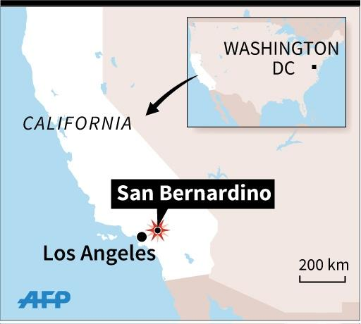 Map locating San Bernardino, California, where a shooting took place on Wednesday(45x40 mm) (AFP Photo/Kun Tian)