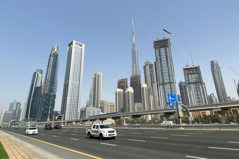 Cars are seen at Sheikh Zayed road in Dubai