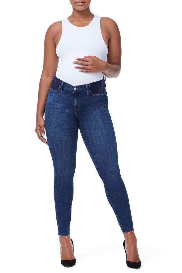 """<p><strong>Good American</strong></p><p>goodamerican.com</p><p><strong>$159.00</strong></p><p><a href=""""https://go.redirectingat.com?id=74968X1596630&url=https%3A%2F%2Fwww.goodamerican.com%2Fproducts%2Fthe-honeymoon-mid-rise-maternity-jeans-blue225&sref=https%3A%2F%2Fwww.goodhousekeeping.com%2Fchildrens-products%2Fg34498315%2Fbest-maternity-jeans%2F"""" rel=""""nofollow noopener"""" target=""""_blank"""" data-ylk=""""slk:Shop Now"""" class=""""link rapid-noclick-resp"""">Shop Now</a></p><p>With a flattering fit that the luxury denim brand is known for, these jeans are<strong> size inclusive to fit curvy bodies and wider thighs, plus they're available in 00 through 24. </strong>And while most inset panels have a low-rise fit, these sit higher on the belly yet still offer insets for people who don't like fabric panels. If you prefer a different leg or rise, there are several <a href=""""https://go.redirectingat.com?id=74968X1596630&url=https%3A%2F%2Fwww.goodamerican.com%2Fsearch%3Fq%3Dmaternity%2Bjeans&sref=https%3A%2F%2Fwww.goodhousekeeping.com%2Fchildrens-products%2Fg34498315%2Fbest-maternity-jeans%2F"""" rel=""""nofollow noopener"""" target=""""_blank"""" data-ylk=""""slk:other maternity jean styles to choose from"""" class=""""link rapid-noclick-resp"""">other maternity jean styles to choose from</a>.</p>"""