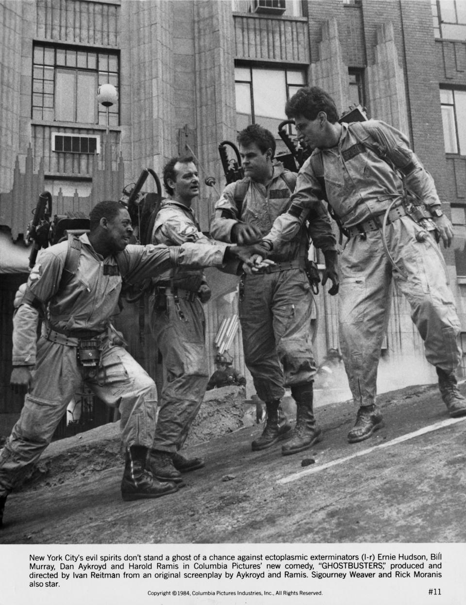 Left to right: Ernie Hudson, Bill Murray, Dan Aykroyd and Harold Ramis (1944 - 2014) as paranormal investigators in Ivan Reitman's 1984 comedy 'Ghostbusters'. (Photo by Columbia Pictures/Archive Photos/Getty Images)