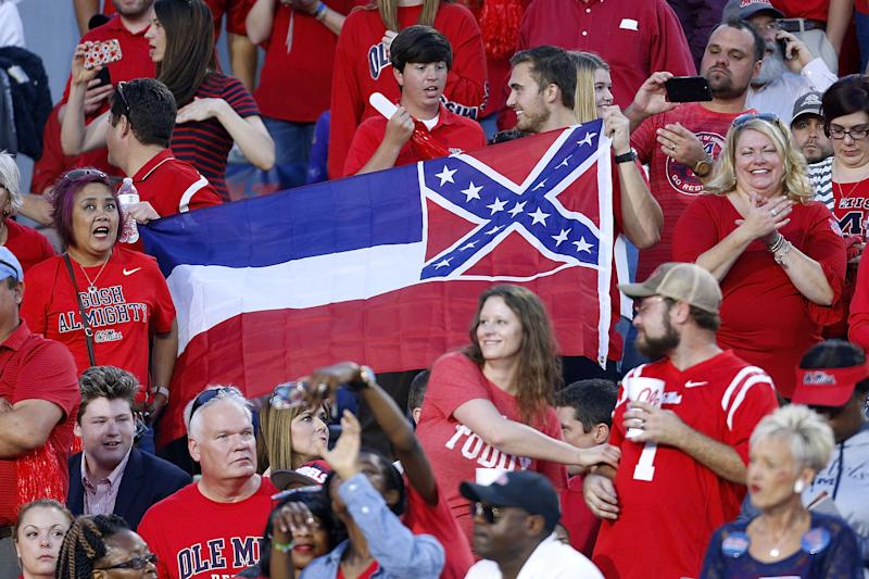 A Mississippi State flag is seen during a game between Ole Miss and LSU at Vaught-Hemingway Stadium on October 21, 2017, in Oxford, Mississippi.