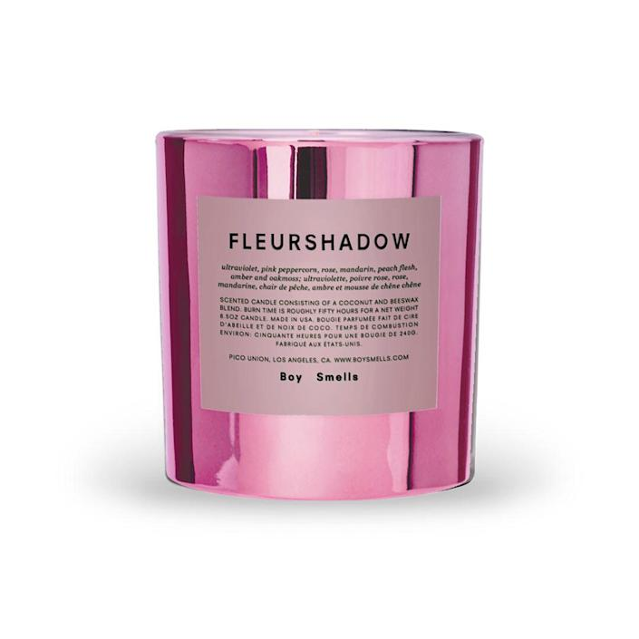 """<p>Lighting a new candle is like an olfactory version of feng shui. It rebalances the room and your energy — and it looks pretty dang cute, too. Boy Smells candles are a delight for all the senses, and their new Hypernature series comes in a rainbow of metallic styles. Fleurshadow, a perfectly pink addition to any room, is a """"total smokeshow of sweet labdanum love and patchouli pillow talk,"""" per the site's description. Who needs a Valentine when you have a candle that smells like poetry? </p> <p><strong>Buy It!</strong> Boy Smells Fleurshadow Candle, $39, <a href=""""http://boysmells.com/"""" rel=""""nofollow noopener"""" target=""""_blank"""" data-ylk=""""slk:boysmells.com"""" class=""""link rapid-noclick-resp"""">boysmells.com</a></p>"""
