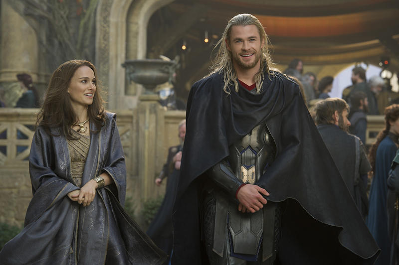 Natalie Portman and Chris Hemsworth in 'Thor: The Dark World'