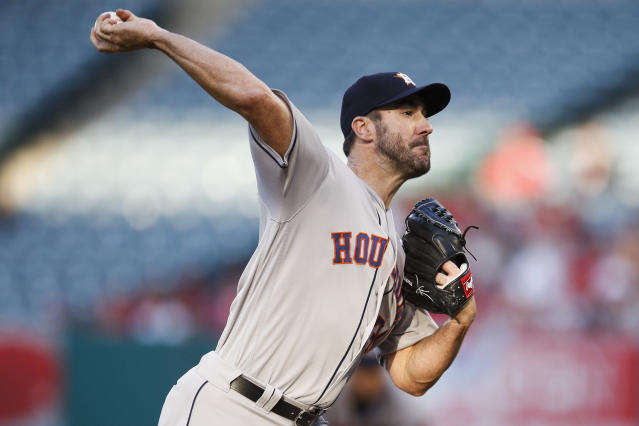 FILE - In this May 16, 2018, file photo, Houston Astros starting pitcher Justin Verlander throws to a Los Angeles Angels batter during the first inning of a baseball game in Anaheim, Calif. Verlander and the Astros play the San Francisco Giants on Wednesday. (AP Photo/Jae C. Hong, File)