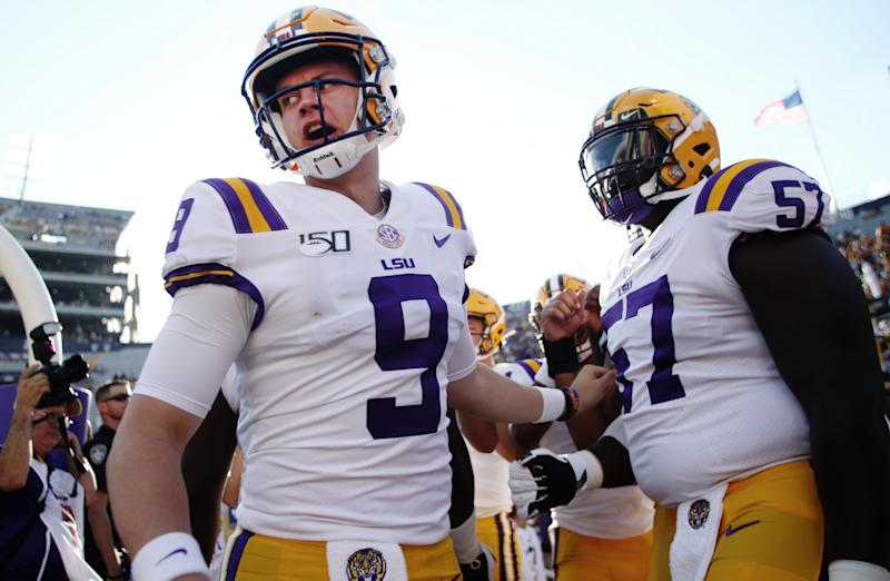 BATON ROUGE, LOUISIANA - AUGUST 31: Quarterback Joe Burrow #9 of the LSU Tigers heads onto the field against Georgia Southern Eagles at Tiger Stadium on August 31, 2019 in Baton Rouge, Louisiana. (Photo by Marianna Massey/Getty Images)