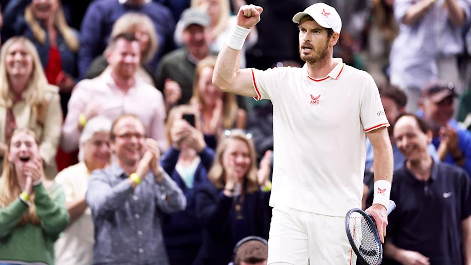 Andy Murray, pictured here after beating Oscar Otte at Wimbledon.