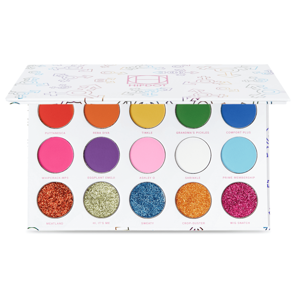 """<strong><h2>HipDot x Meatball Diamond Diva Eyeshadow Palette</h2></strong> <br>HipDot partnered with drag queen and <em>RuPaul's Drag Race</em> alum <a href=""""https://www.instagram.com/spiciestmeatball/"""" rel=""""nofollow noopener"""" target=""""_blank"""" data-ylk=""""slk:Meatball"""" class=""""link rapid-noclick-resp"""">Meatball</a> to create its new Diamond Diva eyeshadow palette. The palette benefits the <a href=""""https://www.lgbtqfund.org/"""" rel=""""nofollow noopener"""" target=""""_blank"""" data-ylk=""""slk:LGBTQ Freedom Fund"""" class=""""link rapid-noclick-resp"""">LGBTQ Freedom Fund</a> and features 15 pans of bold colors and fun textures like silky glitters, vibrant mattes, and pigmented pastels.<br><br><strong>HIPDOT</strong> Diamond Diva with Meatball, $, available at <a href=""""https://go.skimresources.com/?id=30283X879131&url=https%3A%2F%2Fwww.hipdot.com%2Fcollections%2Fdiamond-diva-with-meatball%2Fproducts%2Fdiamond-diva"""" rel=""""nofollow noopener"""" target=""""_blank"""" data-ylk=""""slk:HIPDOT"""" class=""""link rapid-noclick-resp"""">HIPDOT</a><br>"""