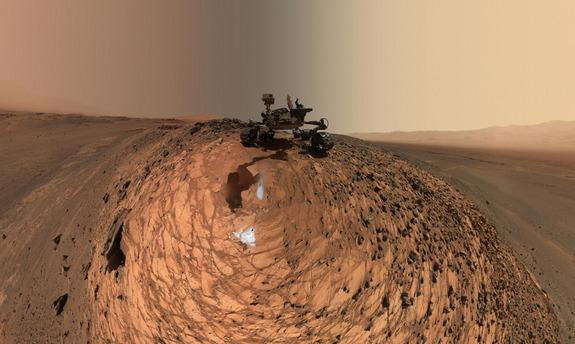 """Curiosity Mars rover took a low-angle self-portrait on Aug. 5, 2015, above the """"Buckskin"""" rock target in the """"Marias Pass"""" area of lower Mount Sharp. Image released Aug. 19, 2015."""