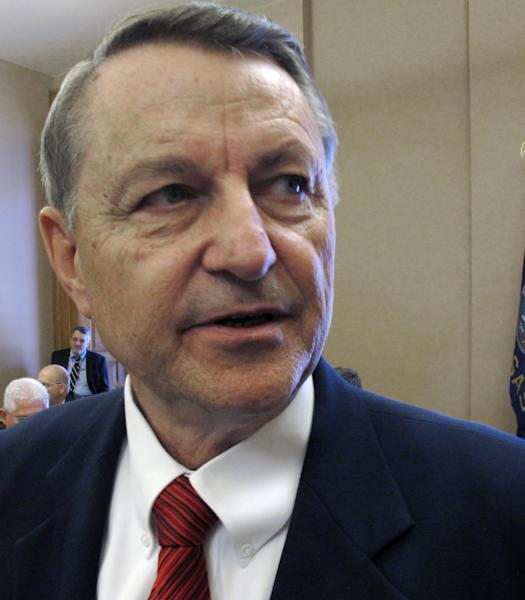 Kansas House Taxation Committee Chairman Richard Carlson, a St. Marys Republican, answers questions from reporters after House and Senate negotiators close a deal on income tax cuts, Wednesday, May 16, 2012, at the Statehouse in Topeka, Kan. Carlson is the House's lead negotiator on tax issues. (AP Photo/John Hanna)
