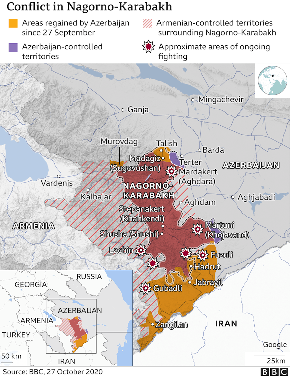 A map showing where fighting has been taking place in and around the disputed territory of Nagorno-Karabakh