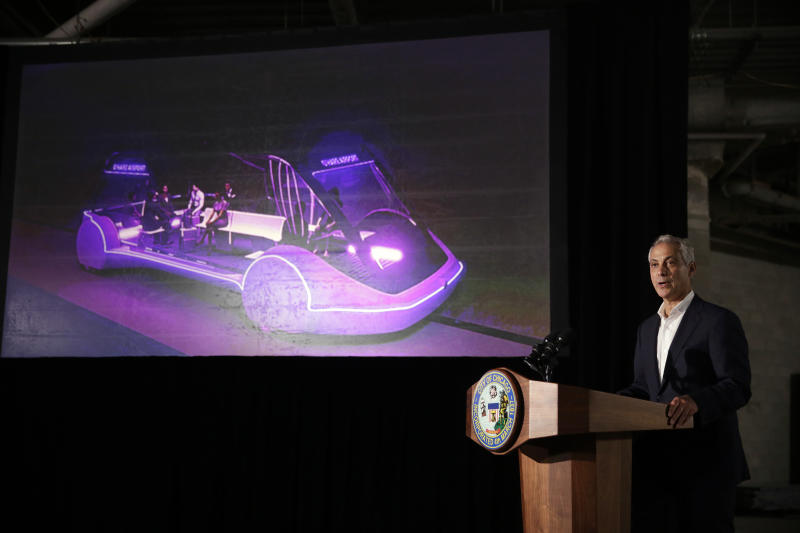 Mayor Rahm Emanuel speaks at a news conference Thursday, June 14, 2018, in Chicago. The Boring Company, founded by Tesla CEO Elon Musk, has been selected to build a high-speed underground transportation system that it says will whisk passengers from downtown Chicago to O'Hare International Airport in mere minutes. (AP Photo/Kiichiro Sato)