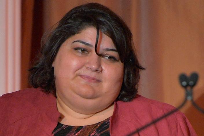 Khadija Ismayilova, Azerbaijan's investigative journalist, onstage during the 2012 Courage in Journalism Awards hosted by the International Women's Media Foundation (AFP Photo/Charley Gallay)
