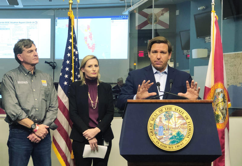 Florida Gov. Ron DeSantis speaks to reporters at the state emergency operations center in Tallahassee, Fla., Saturday, March 14, 2020. (Bobby Caina Calvan/AP)