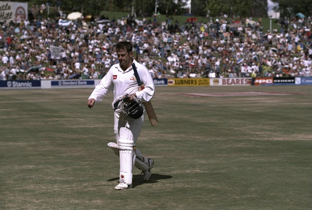 21-25 Mar 1997:  Mark Taylor of Australia is out during the third test match against South Africa at Centurion Park in Pretoria, South Africa. \ Mandatory Credit: Mike Hewitt /Allsport