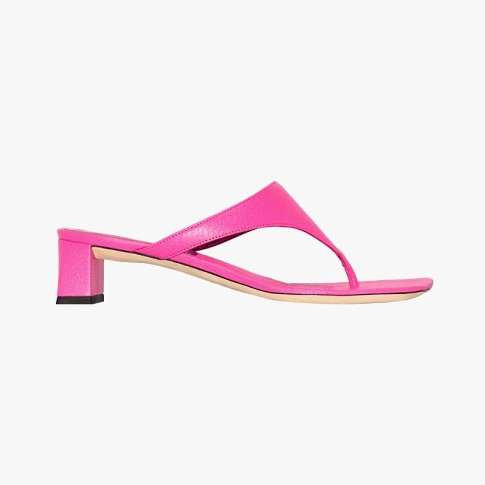 "$383, BROWNS FASHION. <a href=""https://www.brownsfashion.com/shopping/by-far-pink-shawn-40-mock-croc-leather-sandals-16033544"" rel=""nofollow noopener"" target=""_blank"" data-ylk=""slk:Get it now!"" class=""link rapid-noclick-resp"">Get it now!</a>"