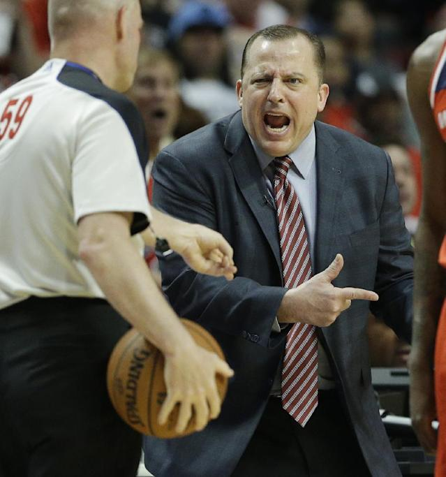 Chicago Bulls head coach Tom Thibodeau, right, reacts to a call during the second half in Game 1 of an opening-round NBA basketball playoff series against the Washington Wizards in Chicago, Sunday, April 20, 2014. The Wizards won 102-93. (AP Photo/Nam Y. Huh)