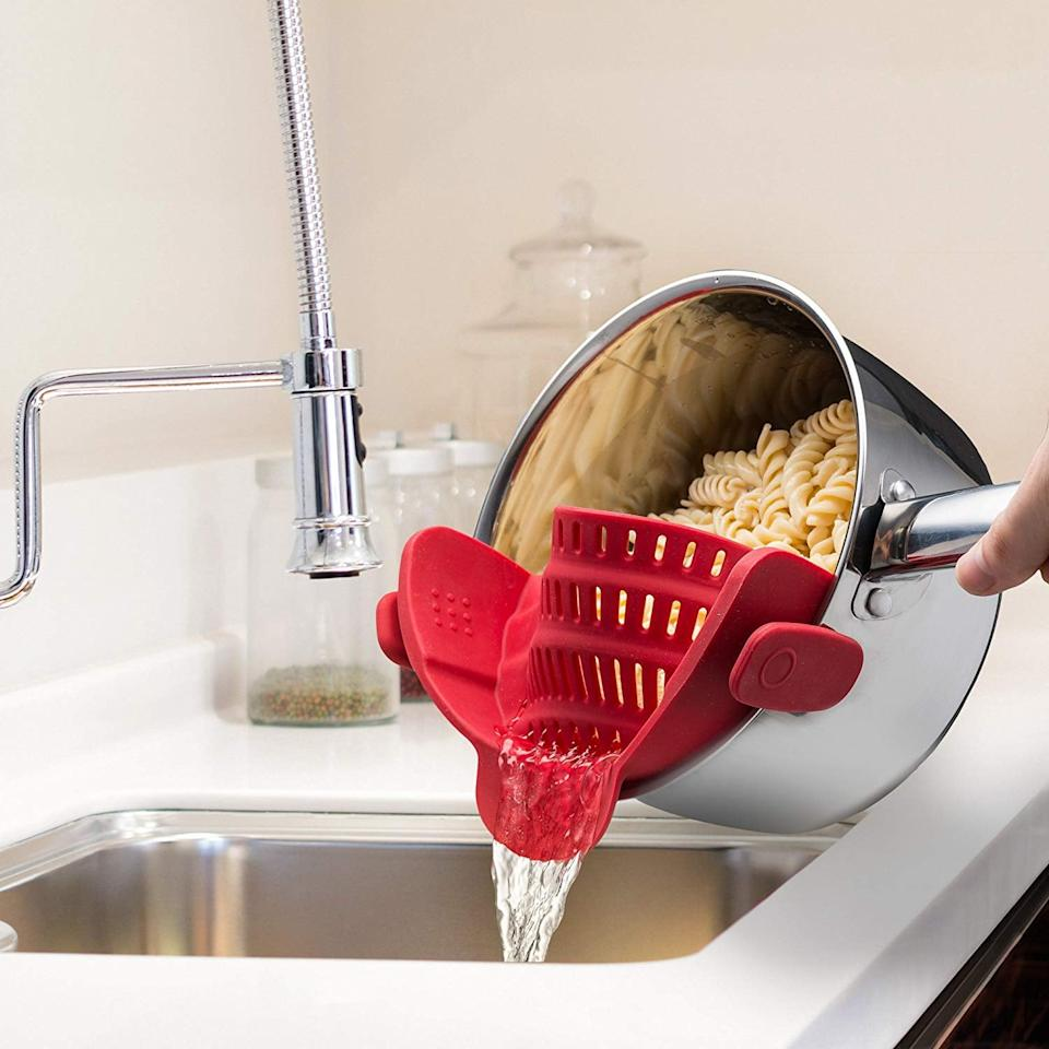 "<p>No doubt you need this <a href=""https://www.popsugar.com/buy/Kitchen-Gizmo-Snap-N-Strain-Strainer-541763?p_name=%20Kitchen%20Gizmo%20Snap%20N%20Strain%20Strainer&retailer=amazon.com&pid=541763&price=15&evar1=casa%3Aus&evar9=47128485&evar98=https%3A%2F%2Fwww.popsugar.com%2Fhome%2Fphoto-gallery%2F47128485%2Fimage%2F47128524%2FKitchen-Gizmo-Snap-N-Strain-Strainer&list1=shopping%2Cgadgets%2Ckitchen%20tools%2Ckitchen%20accessories%2Chome%20shopping&prop13=api&pdata=1"" rel=""nofollow"" data-shoppable-link=""1"" target=""_blank"" class=""ga-track"" data-ga-category=""Related"" data-ga-label=""https://www.amazon.com/Kitchen-Gizmo-Strainer-Silicone-Colander/dp/B07M687LCP/ref=sr_1_10?keywords=kitchen%2Bgadgets&amp;qid=1579608105&amp;sr=8-10&amp;th=1"" data-ga-action=""In-Line Links""> Kitchen Gizmo Snap N Strain Strainer </a> ($15) in your life.</p>"