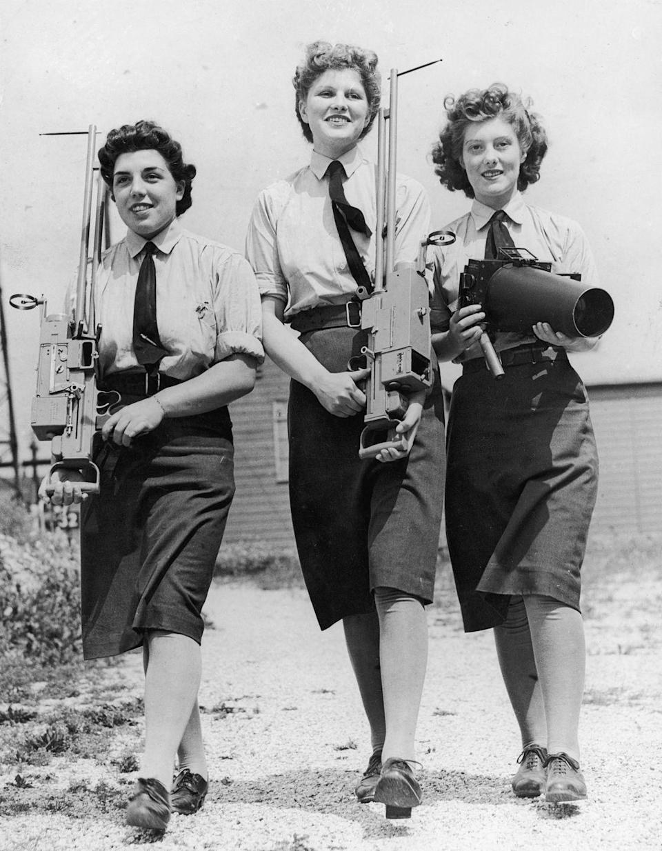 <p>Women joined in the wartime efforts during WWII dressed in uniform, just as the men were. </p>