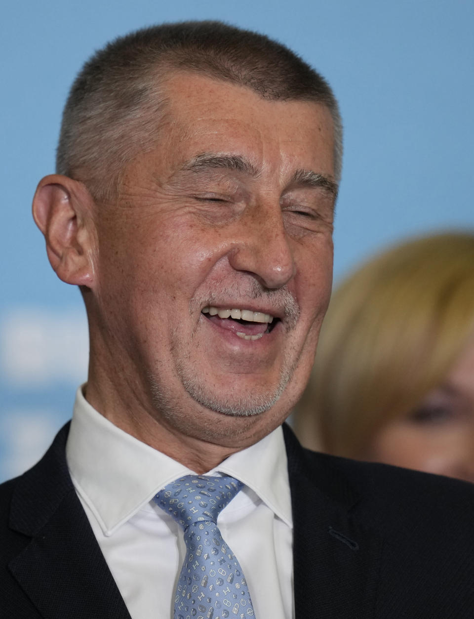 Czech Republic's Prime Minister and leader of centrist ANO (YES) movement Andrej Babis reacts as he addresses the media after most of the votes were counted in the parliamentary elections, Prague, Czech Republic, Saturday, Oct. 9, 2021. Prime Minister Andrej Babis's centrist party has narrowly lost the Czech Republic's parliamentary election, a surprise development that could mean the end of the populist billionaire's reign in power. With the votes from 99.7% of the ballot stations counted, the Czech Statistics Office said Together, a liberal-conservative three-party coalition, captured 27.7% of the vote, beating Babis's ANO (Yes) party, which won 27.2%. (AP Photo/Petr David Josek)