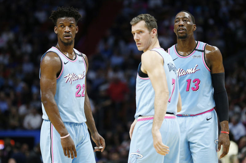 Jimmy Butler, Goran Dragic and Bam Adebayo have helped Miami exceed expectations this season. (Michael Reaves/Getty Images)