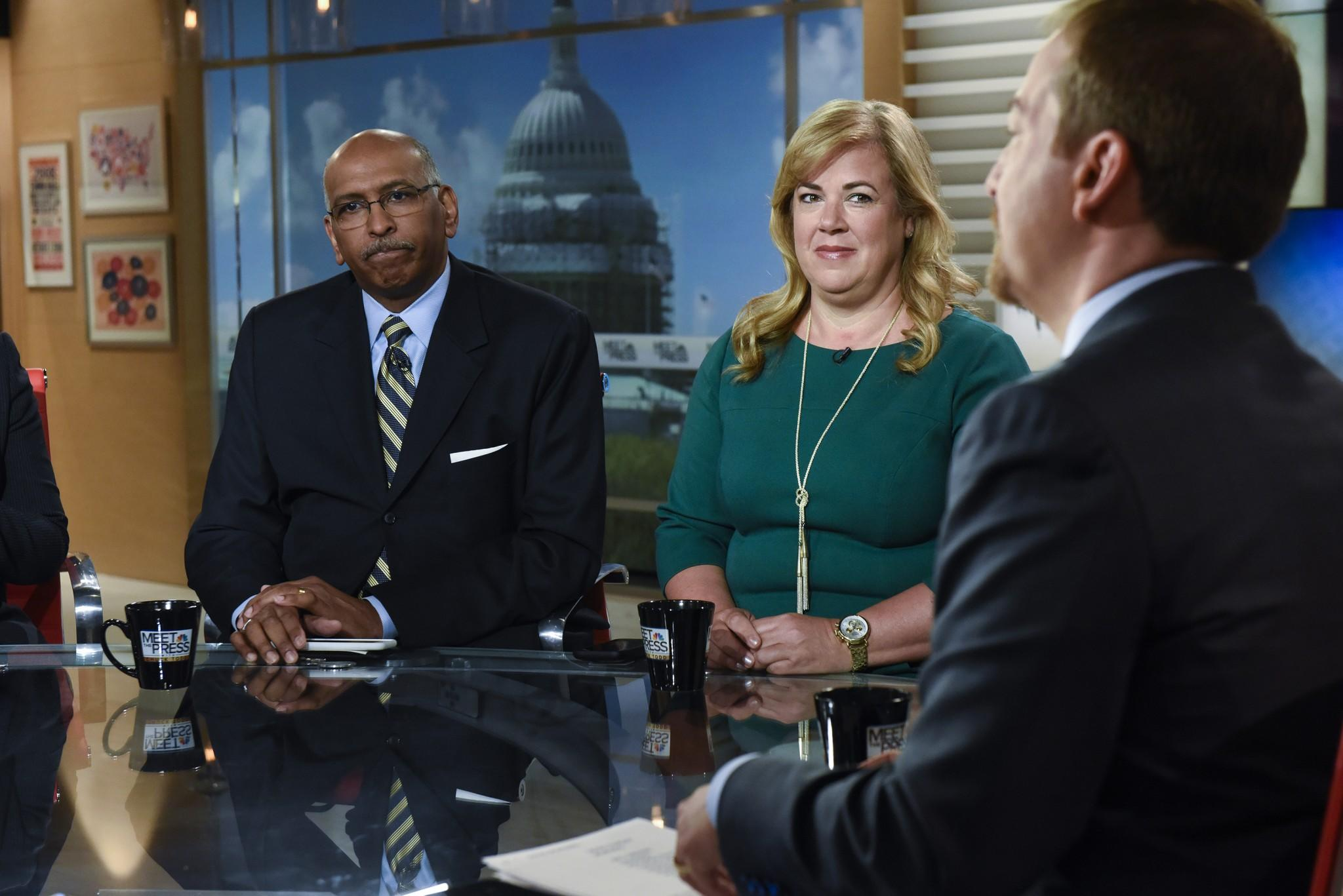 Former chair of the Republican National Committee Michael Steele, chair of Our Principles PAC Katie Packer and moderator Chuck Todd appear on