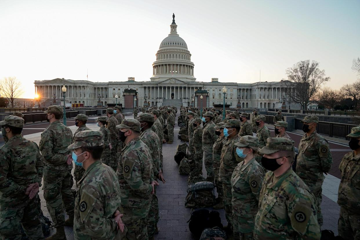 Members of the National Guard gather outside the U.S. Capitol