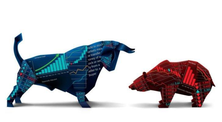 stock market icons of a blue bull and a red bear (overvalued stocks)