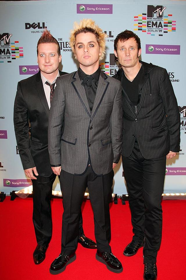 """Green Day brought their punk sense of style to the red carpet, then kicked off the EMAs with an explosive performance of """"Know Your Enemy."""" Venturelli/<a href=""""http://www.wireimage.com"""" target=""""new"""">WireImage.com</a> - November 5, 2009"""