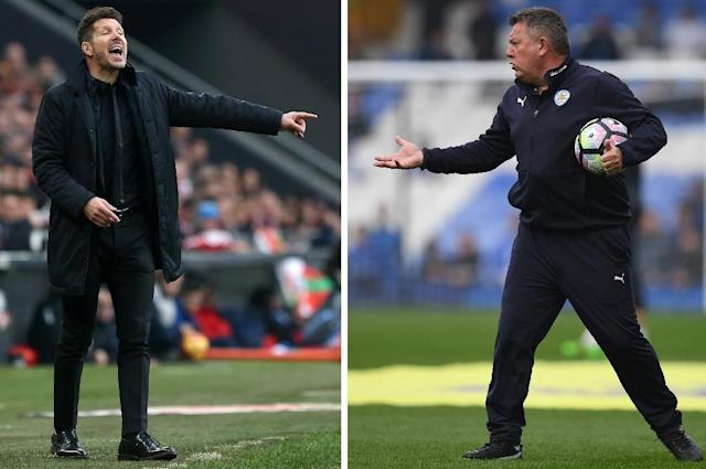 Leicester City's manager Craig Shakespeare (R) during a match against Everton at Goodison Park in Liverpool, on April 9, 2017 and Atletico Madrid's coach Diego during a match against Athletic Club Bilbao on January 22, 2017 (AFP Photo/Paul ELLIS, Cesar MANSO)
