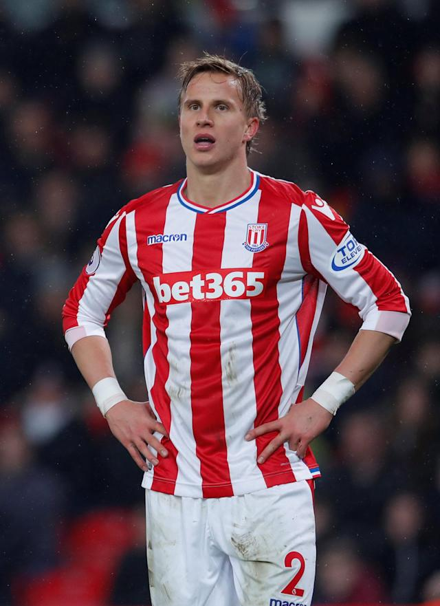 "Soccer Football - Premier League - Stoke City vs Manchester City - bet365 Stadium, Stoke-on-Trent, Britain - March 12, 2018 Stoke City's Moritz Bauer looks dejected Action Images via Reuters/Andrew Couldridge EDITORIAL USE ONLY. No use with unauthorized audio, video, data, fixture lists, club/league logos or ""live"" services. Online in-match use limited to 75 images, no video emulation. No use in betting, games or single club/league/player publications. Please contact your account representative for further details."
