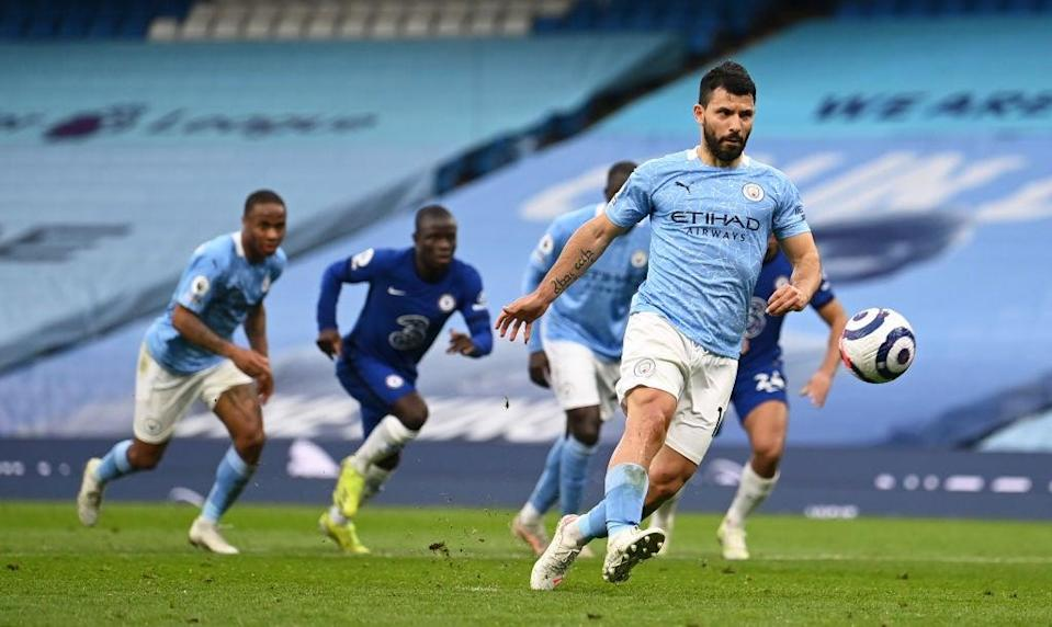 Aguero misses from the spotGetty Images
