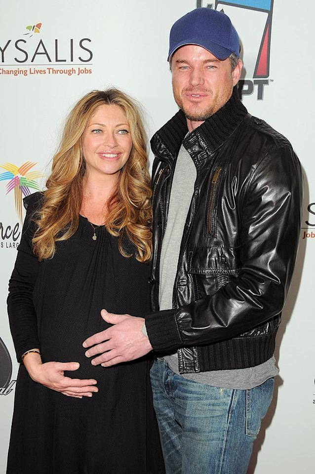 """A very pregnant Rebecca Gayheart was also on hand to cheer on her hunky hubby, """"Grey's Anatomy"""" star Eric Dane. Jordan Strauss/<a href=""""http://www.wireimage.com"""" target=""""new"""">WireImage.com</a> - February 20, 2010"""