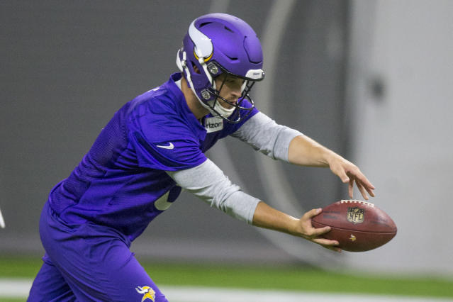 FILE - In this June 11, 2019, file photo, then-Minnesota Vikings punter Matt Wile punts during drills at the team's NFL football training facility in Eagan, Minn. The Atlanta Falcons have a new backup plan if punter Matt Bosher hasnt recovered from a groin injury by Sundays game at Indianapolis. Matt Wile worked on punts and kickoffs on Wednesday, Sept. 18, 20919, one day after he was signed to the practice squad. Wile was Minnesotas punter in 2018, and he spent time with the Falcons in 2016. (AP Photo/Andy Clayton- King, File)