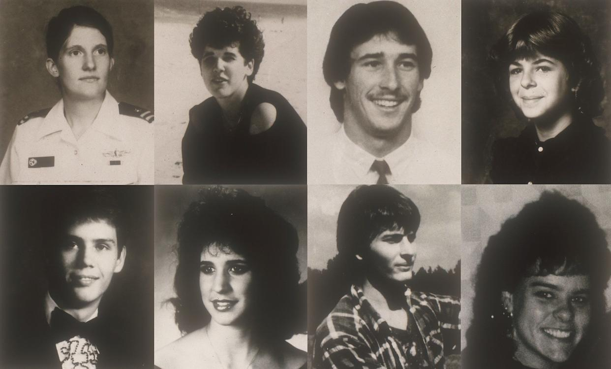 """The victims, eight in all, came in pairs. Many were young lovers who apparently met their fates mid-assignation. Each of the homicides occurred along the scenic 23-mile route between Jamestown and Yorktown in Virginia, giving them a ready name: the Colonial Parkway murders. Due to the shared location and other similarities among the deaths, law enforcement officials viewed them as the work of a possible serial killer. <br><br><strong>Read More:</strong> <a href=""""https://web.archive.org/web/20121127145320/http://www.aolnews.com/2010/03/30/unsolved-murders-of-young-lovers-get-new-focus-in-va"""" rel=""""nofollow noopener"""" target=""""_blank"""" data-ylk=""""slk:Unsolved Murders Of Young Lovers In Va."""" class=""""link rapid-noclick-resp"""">Unsolved Murders Of Young Lovers In Va.</a>"""